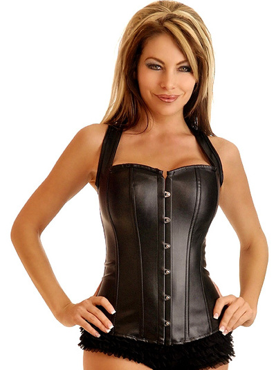 biker babe faux leather corset