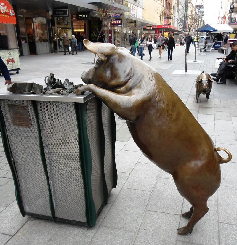 Bronze Pig Rundle Mall Adelaide  - The Pleasure Of Taking Photographs