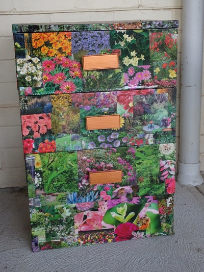 chest of drawers with flowers