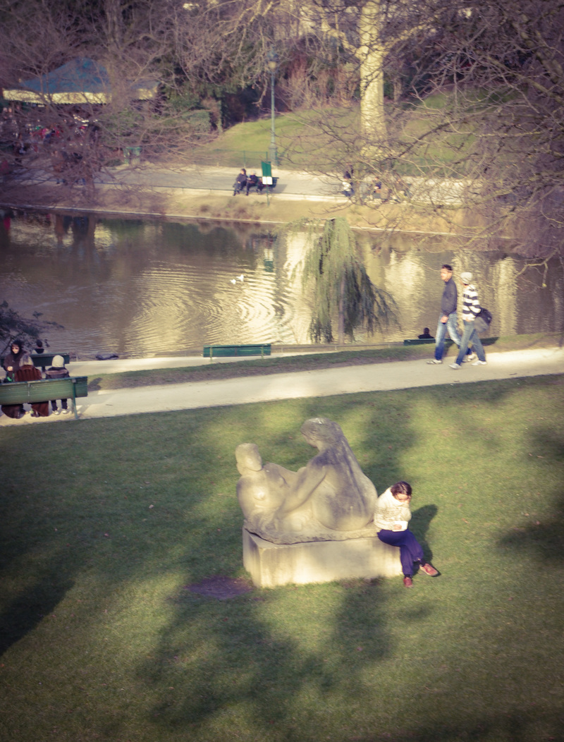 Lady reading in park