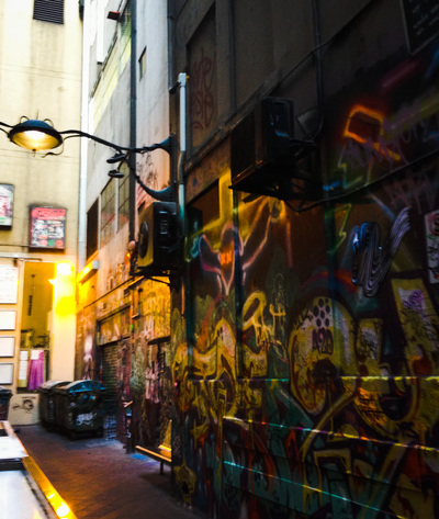 Melbourne laneway with street art