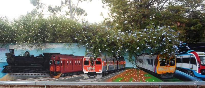 Painting Of Various Trains  - Trains In Street Art