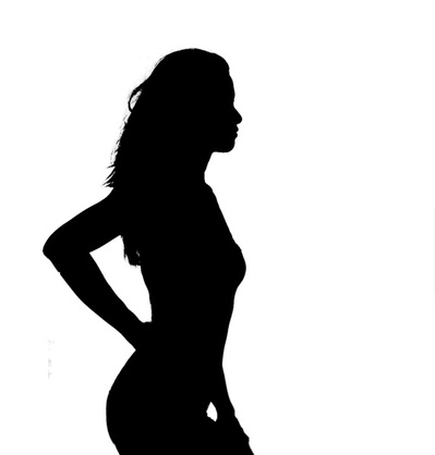 Silhouette of Woman in a Bikini