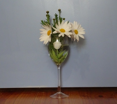 Wine glass of flowers